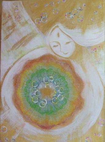 作:坪田陽子「DNAの断面図を抱く白い天使」
